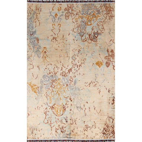 """Earth-Tone Vegetable Dye Abstract Oriental Area Rug Wool Hand-knotted - 4'1"""" x 6'0"""""""