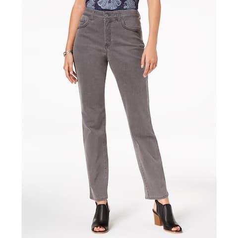 Style & Co Women's Rail Tummy-Control Straight-Leg Jeans Gray Size 4