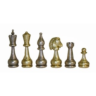 Large Staunton Metal Men Chess Pieces - Multicolored