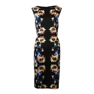 Tahari Women's Printed Sheath Dress - black/taupe/blue