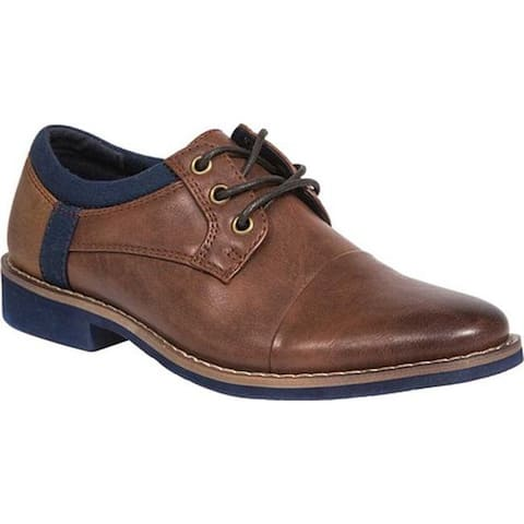 Deer Stags Boys' Truckee Jr Oxford Brown/Navy Simulated Leather