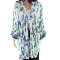 RXB Blue Women's Size 1X Plus Floral Print Open Cardigan Sweater
