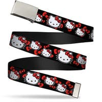 Blank Chrome Bo Buckle Hello Kitty Multi Face W Bows Black Red Webbing Web Belt