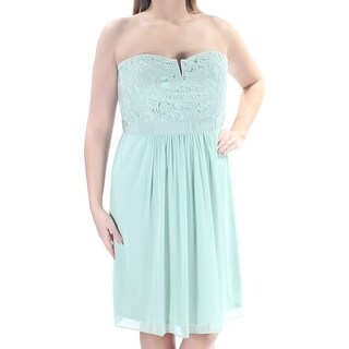 ADRIANNA PAPELL Womens Green Lace Strapless Knee Length A-Line Prom Dress Size: 14