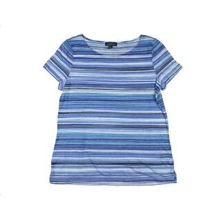 LRL Lauren Jeans Co. Womens Striped Burnout Casual Top - S
