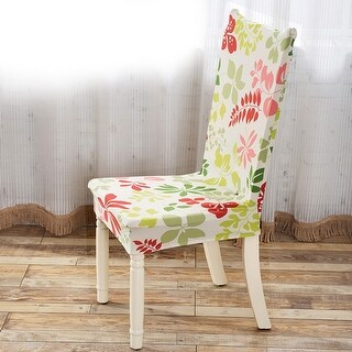 Unique Bargains Red Green Removable Stretch Elastic Dining Room Chair Cover