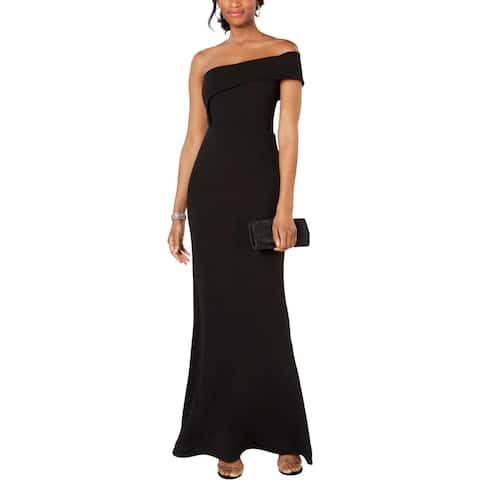 Betsy & Adam Womens Formal Dress Asymmetric One Shoulder - Black