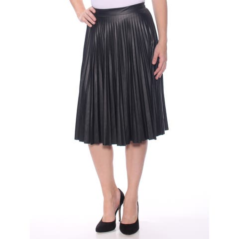 BAR III Womens Black Metallic Below The Knee Pleated Skirt Size: 2XS