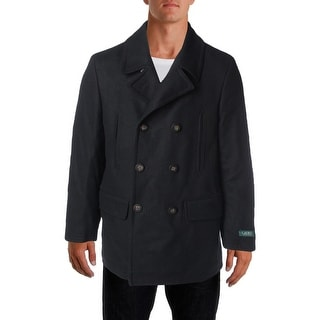 Lauren Ralph Lauren Mens Big & Tall Wool Blend Double-Breasted Pea Coat