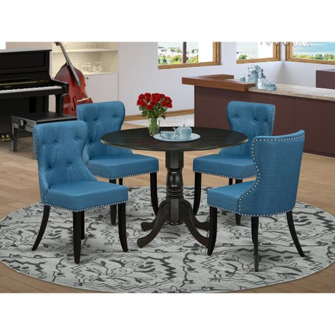 Table set of Kitchen Chairs using Linen Fabric Mineral Blue color and Pedestal Kitchen table (Number of Chair Option)