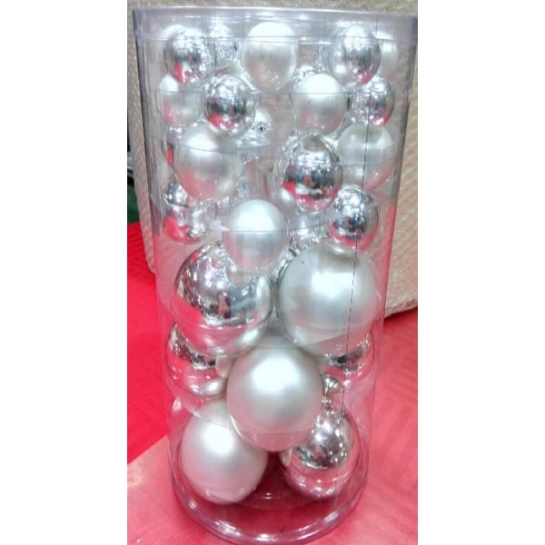 """40-Piece Silver Collection Glass Ball Christmas Ornament Set 1"""", 1.25"""", 2.5"""""""