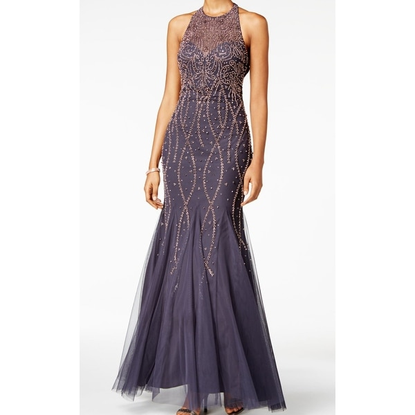 Xscape NEW Gray Women 10 Beaded Illusion Open-Back Ball Gown Dress ...