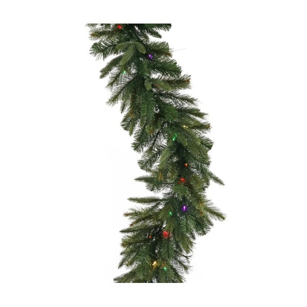 """9' x 14"""" Pre-Lit Mixed Cashmere Pine Artificial Christmas Garland - Multi-Color Dura Lights - green"""