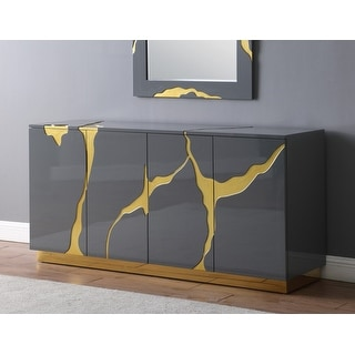 Best Master Furniture 66″ Lacquer with Gold 3 Door Sideboard