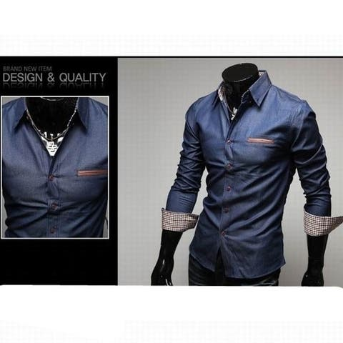 New Unique Leather Pocket Water Wash 100 percent Cotton Casual Male Slim Long-Sleeve Fashion Shirt M-Xxl