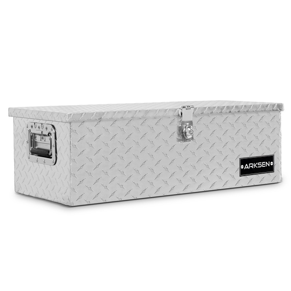 "ARKSEN 30"" Aluminum Diamond Plate Tool Box Chest Box Truck Pick Up Underbody Trailer Toolbox Storage Lock Keys, Silver"