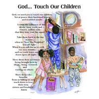 ''God, Touch Our Children'' by Batteryman African American Art Print (20 x 16 in.)