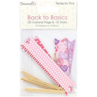 Dovecraft Back To Basics Garland Flags-Perfectly Pink, 20 Flags & 10 Sticks