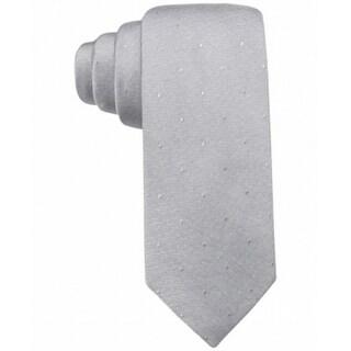Ryan Seacrest Gray Napa Tonal Dot Slim Men's Neck Tie Silk Accessory