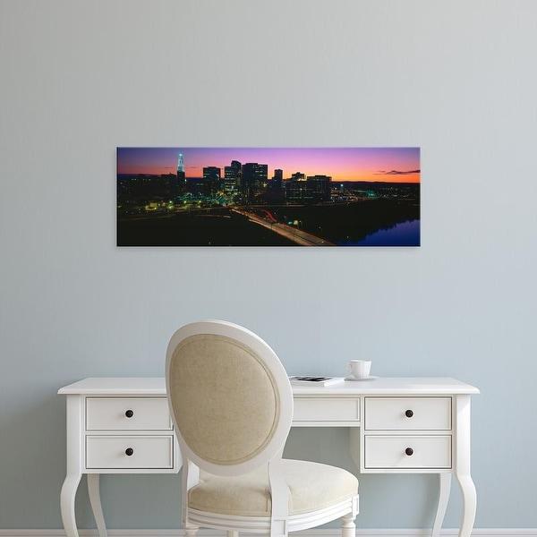 Easy Art Prints Panoramic Images's 'Skyline, Hartford, Sunset, Connecticut' Premium Canvas Art