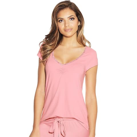 Maidenform Lace Trim Cap Sleeve Tee - Color - Pink Nectar - Size - S
