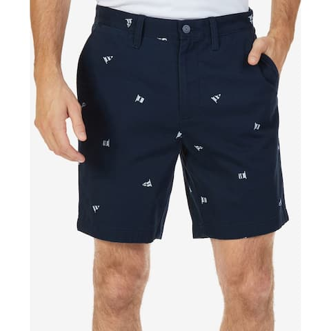 Nautica Blue Men Size 38 Khakis Chinos Classic Fit Flag Print Shorts