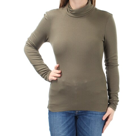 Womens Green Long Sleeve Turtle Neck Casual Top Size M