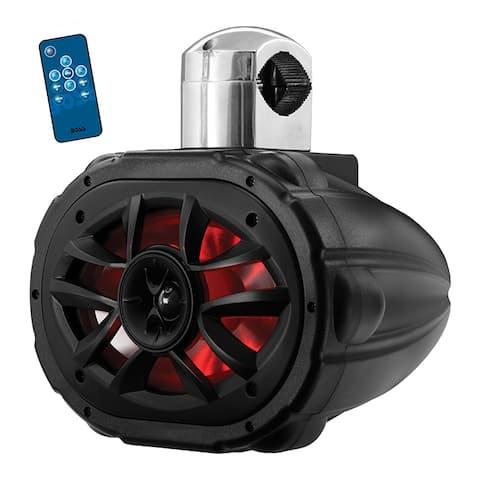 "Boss 6x9"" 2-Way Marine Wake Tower Speaker (Each) with RGB Lights 600W Black"