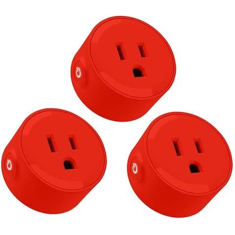 KioKi 3 Pack Alexa Mini Wifi Smart Plug, Red/White/Yellow