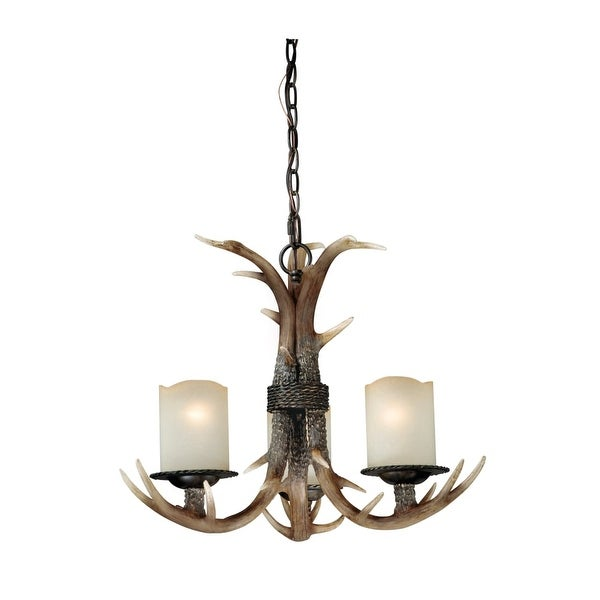 Vaxcel Lighting H0013 Yoho 3 Light Single Tier Chandelier with Frosted Glass Shades - 21 Inches Wide - Black Walnut