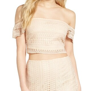 Leith Blush Pink Womens Medium M Crop Knitted Off Shoulder Top
