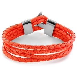 Red Braided Leather Multi Strap Bracelet (Sold Ind.) (15 mm) - 8 in
