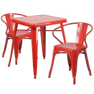 Brimmes 3pcs Square 23.75'' Red Metal Table w/2 Arm Chairs