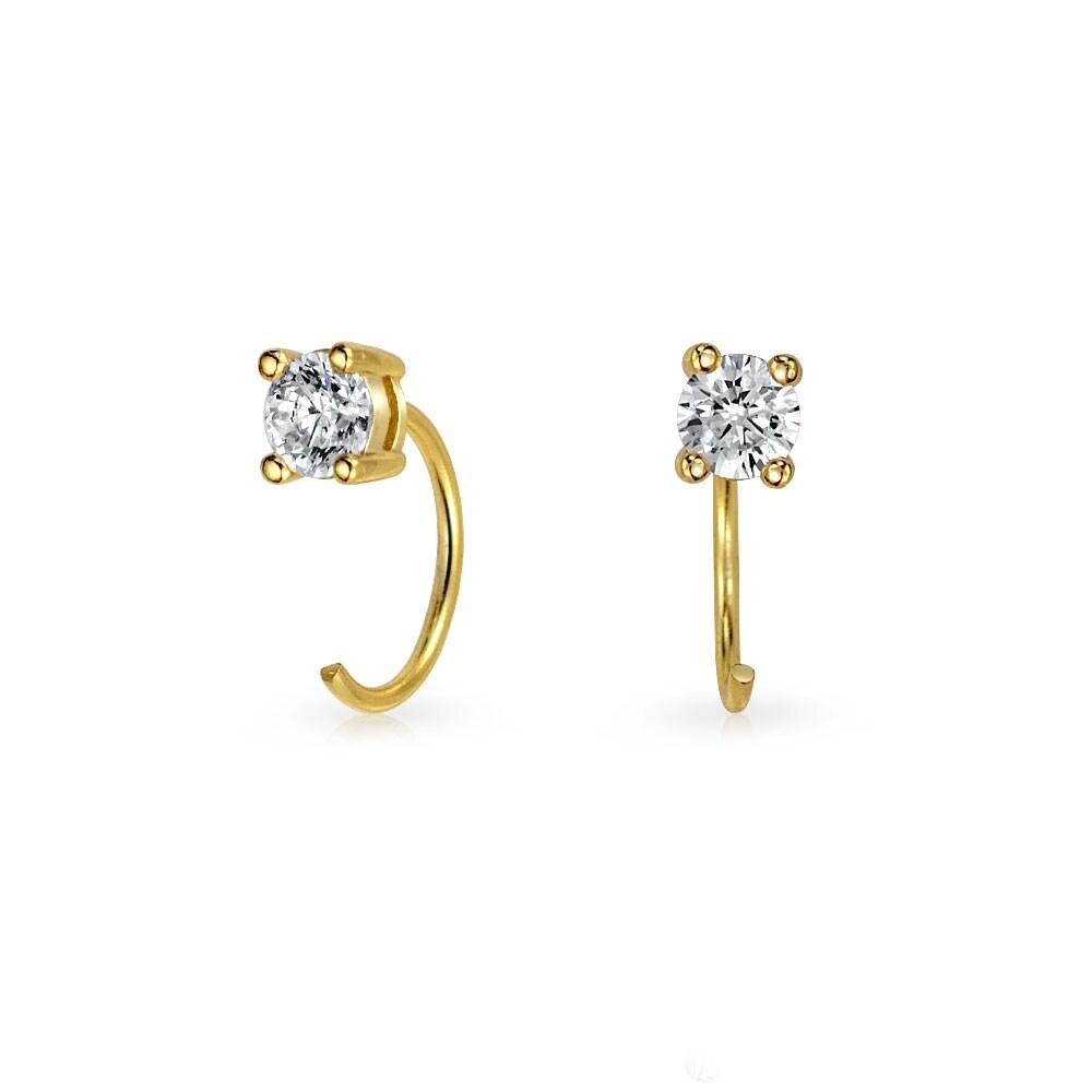 Silver Minimal Stud Earrings Cubic Zirconia Gemstone Gold Plated Various Symbols