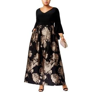 Xscape Womens Plus Evening Dress Brocade Floral Print