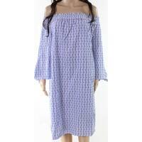 Scotch & Soda Blue Womens Size XL Striped Smocked Shift Dress