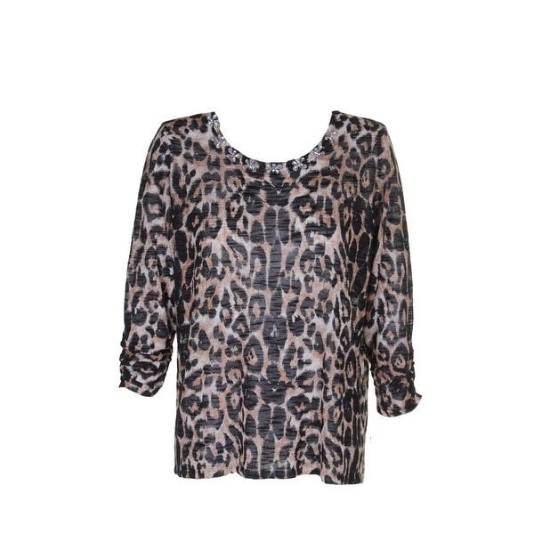 fb4f37a17eb Inc International Concepts Plus Size Beige Black Animal-Print Jeweled Top 0X