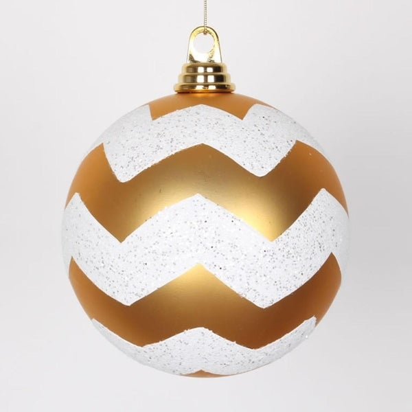 "Gold Matte with White Glitter Chevron Christmas Ball Ornaments 6"" (150mm)"