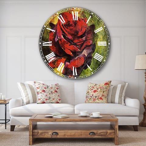 Designart 'Red Rose Illustration on Green' Floral Wall CLock