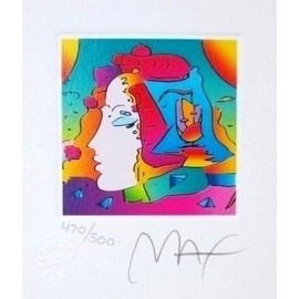 "Cosmic Profile, Ltd Ed Lithograph (Mini 3.5"" x 3""), Peter Max"