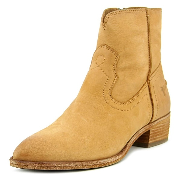 Frye Ray Seam Short Women Round Toe Leather Tan Ankle Boot