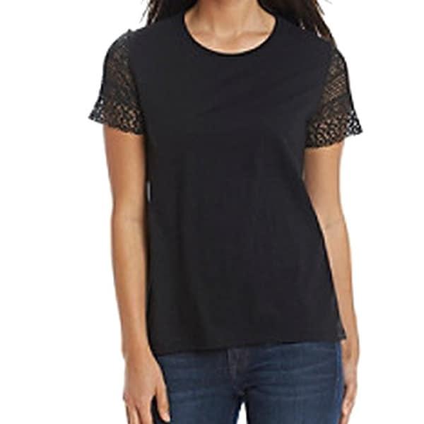 e8ad5f5c Shop Michael Kors NEW Black Womens Size Small S Lace Panel Tee T ...