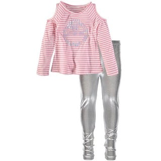 Kidtopia Girls 4-6X Stripe Top Metallic Legging Set - Silver