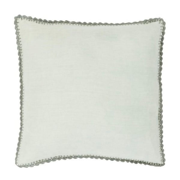 "22"" Solid Sage Green with Elephant Gray Trim Woven Decorative Throw Pillow - Down Filler"