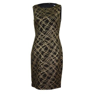 Tommy Hilfiger Women's Metallic-Print Sheath Dress - Black/gold