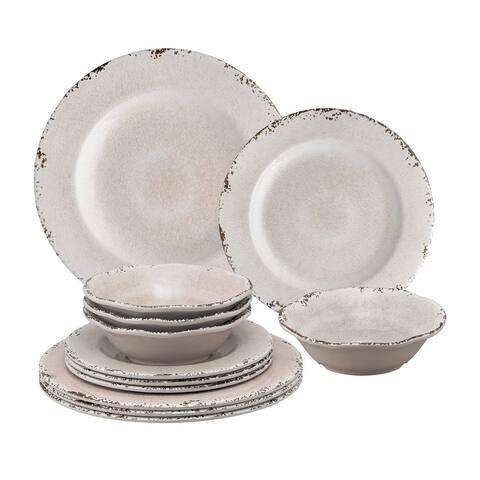 UPware 12-Piece Crackle Melamine Dinnerware Set, Cream