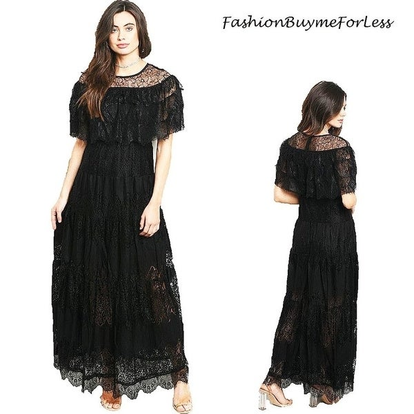 34107459bc Shop Black Victorian Gothic Steampunk Ruffle Lace Goddess Gown Maxi ...