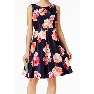 Jessica Howard NEW Blue Women's Size 6 Floral Printed Belted Tea Dress