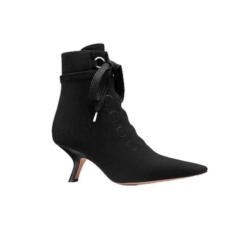 Dior Women's Leather D-Hide 65 Stretch Mesh Ankle Boots Black
