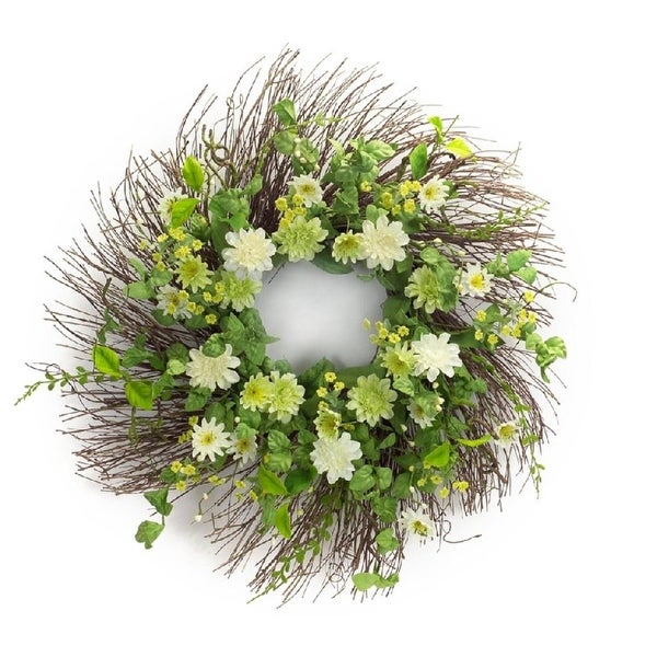 "Pack of 2 Decorative and Springtime Mini White and Green Zinnia Flower Wreaths 26"" - Unlit"